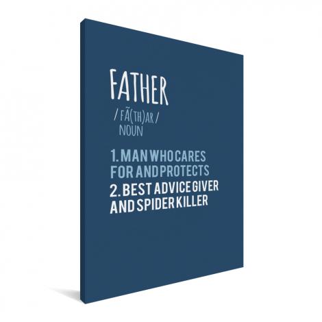 Vaderdag - blauwe print met tekst - Father Canvas