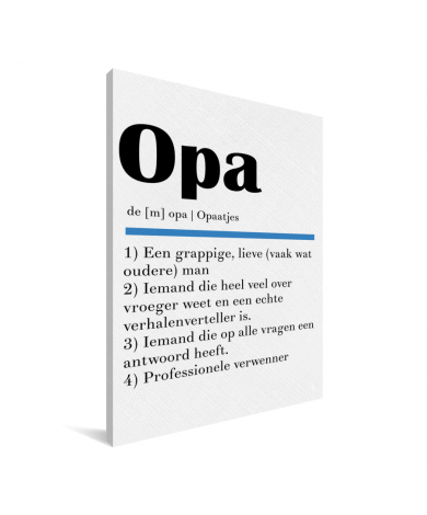Vaderdag - Definitie Opa Canvas