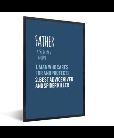 Vaderdag - blauwe print met tekst - Father Fotolijst