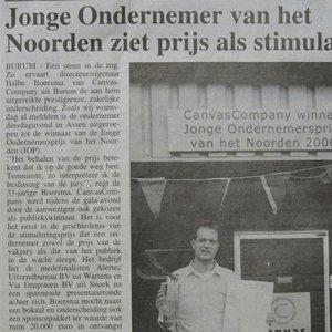 Krantenartikel jonge ondernemer van het noorden ziet prijs als stimulans