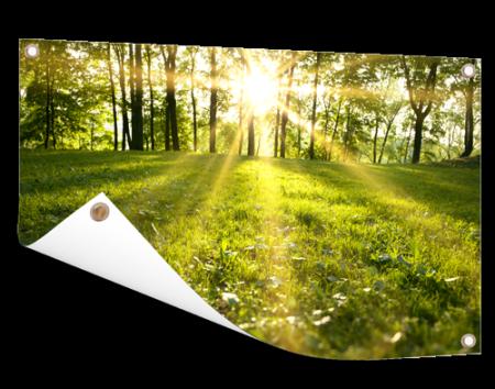 Landschapsfoto op tuinposter afdrukken