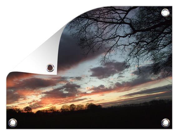 Tuinposter met zonsondergang