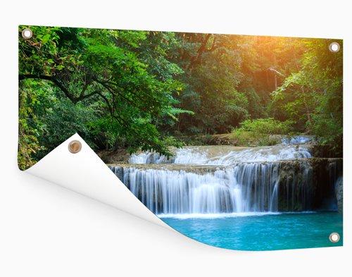 Watervalfoto op tuinposter afdrukken